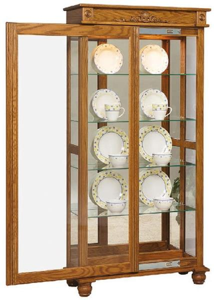 Amish Deluxe Sliding Door Curio Cabinet with Bunn Feet