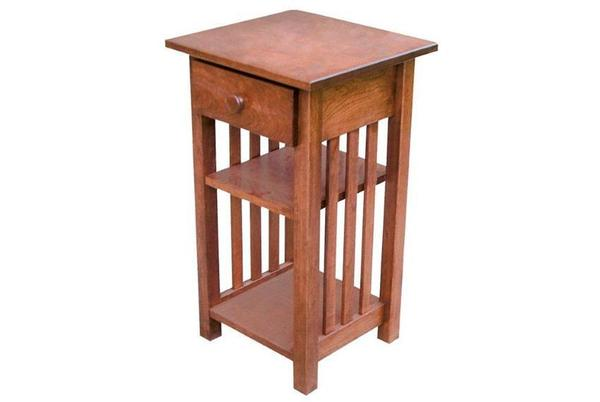 Small Mission Phone Stand End Table with Drawer
