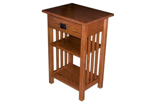 Large Mission Phone Stand End Table with Drawer