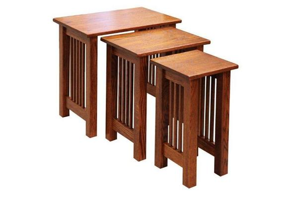 Amish Mission Nesting End Tables Set of Three