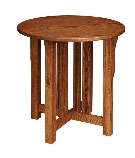 Mission Round Table.Amish Prairie Mission Round End Table