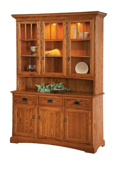 Bradford Oak Wood Mission China Cabinet with Glass Doors in Hutch Top and an Open Deck