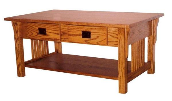 Amish Prairie Mission Coffee Table with Drawers
