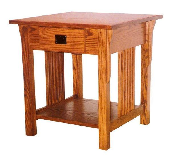Amish Prairie Mission Large Lamp End Table with Drawer