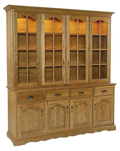 Amish Clarion Oak Hutch with Four Full Glass Doors in Top Hutch and Four Solid Wood Doors in Base