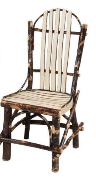 Amish Rustic Cabin Hickory Straight Chair with Slats