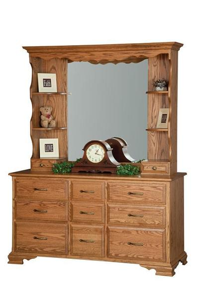 Amish 9 Drawer Dresser With Optional Hutch Top Mirror