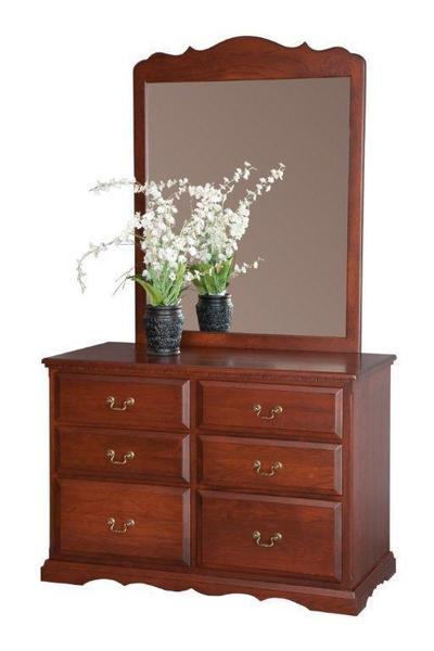 Amish Solid Wood 6 Drawer Dresser With Optional Mirror