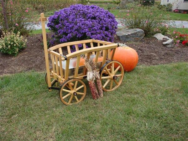 Amish Wooden Goat Cart - Medium Rustic