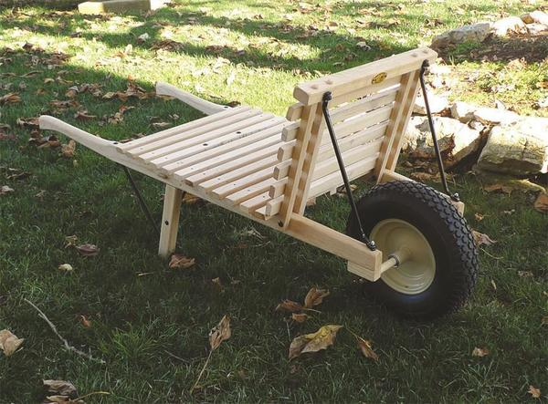 Amish Open Wheelbarrow with Pneumatic Tire - Large Rustic