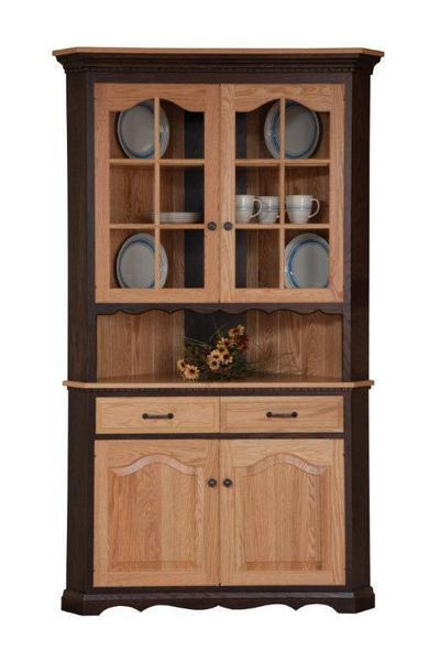 Amish Washington Solid Wood Corner Hutch - Lifetime Warranty
