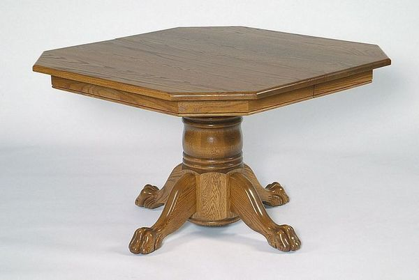 "Amish 48"" Single Pedestal Dining Table with Clipped Corner Top"