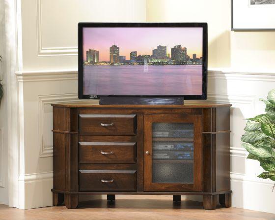 Amish Arlington Corner TV Stand with Three Drawers