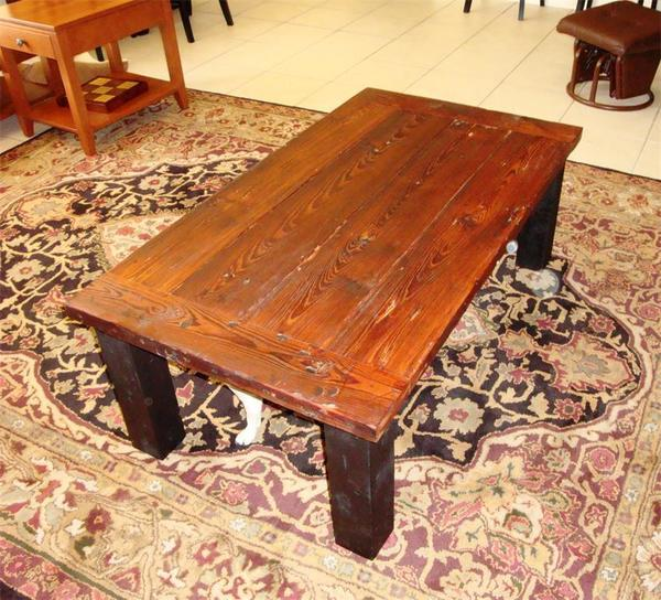 Amish Reclaimed Wood Plank Coffee Table