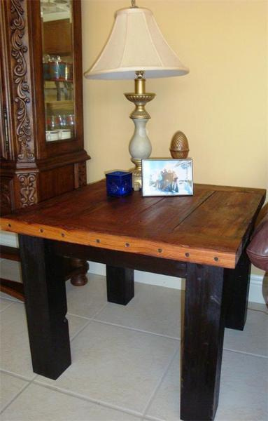 Amish Salvaged Heart Pine Wood Plank End Table
