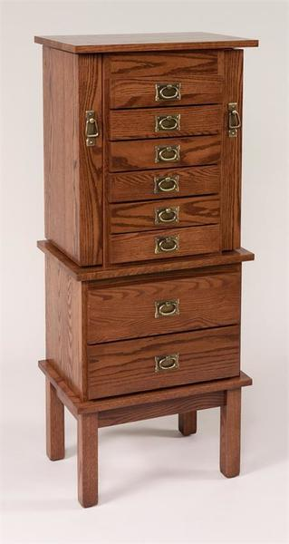 "Amish 48"" Split Mission Jewelry Armoire"