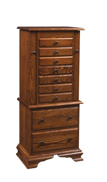 "Amish 48"" Kaleva Deluxe Jewelry Armoire with Clock Base"