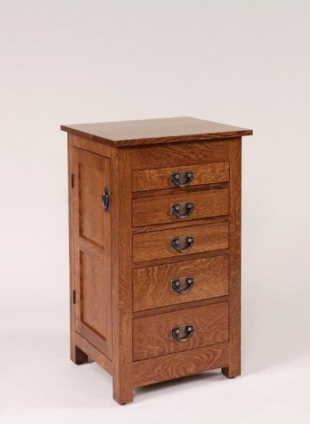 "Amish 35"" Quarter Sawn Oak Wood Mission Jewelry Armoire"