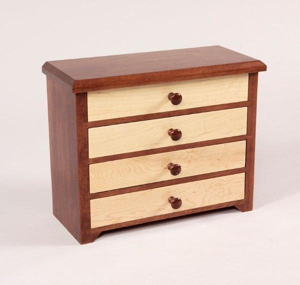 Amish Four Drawers Shaker Jewelry Chest in Curly Maple