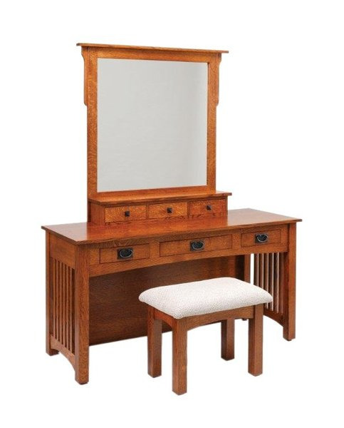 "Amish 60"" Mission Vanity Dressing Table"