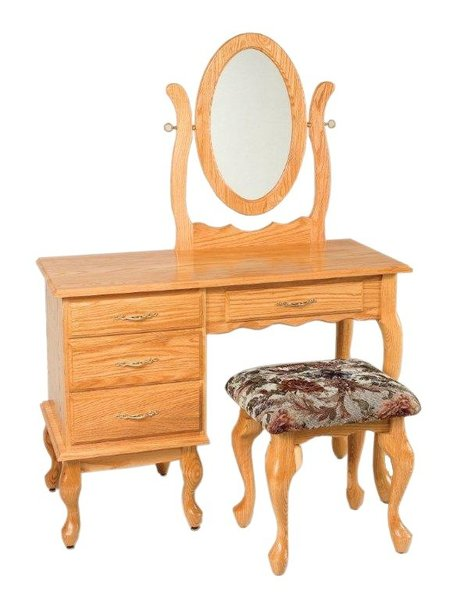 "Amish 42"" Queen Anne Vanity Dressing Table"