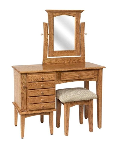 "Amish 42"" Shaker Jewelry Vanity Dressing Table"