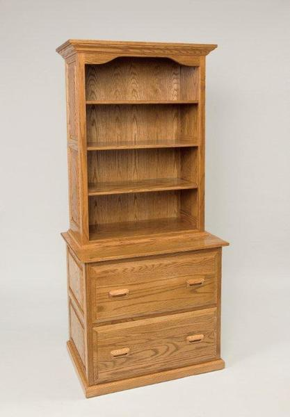 Amish File Cabinet With Bookcase Top