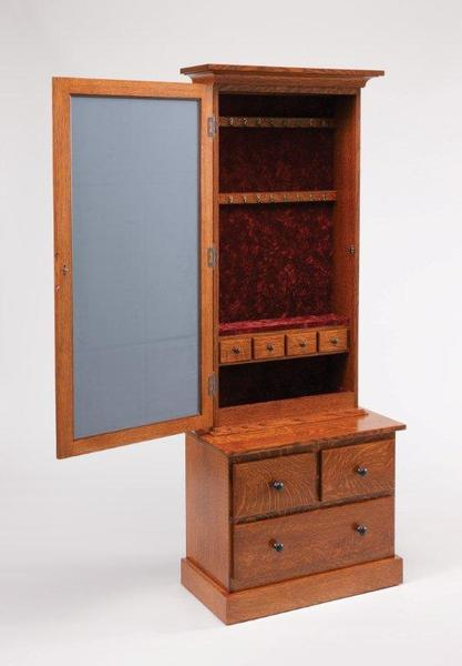 Amish Lynchburg Mission Style Mirrored Jewelry Armoire