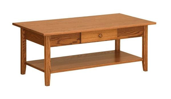 Amish Shaker Rectangular Coffee Table with Drawer