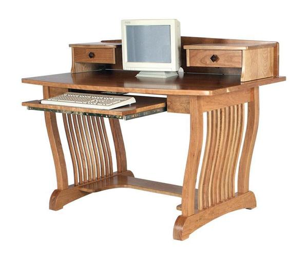 Amish Royal Mission Computer Desk with Top Shelf