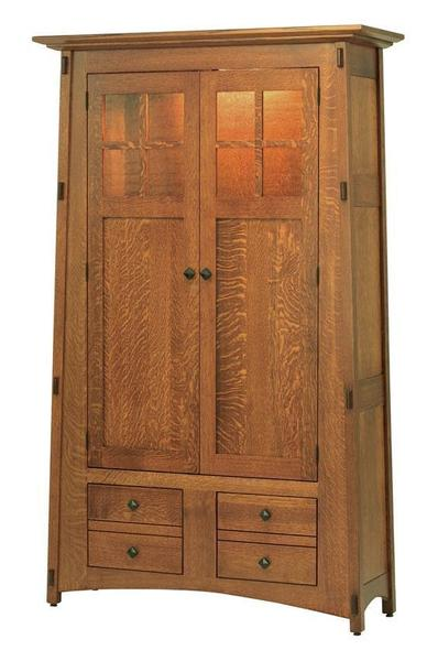 Amish McCoy Mission Bookcase with Mullion Glass Doors