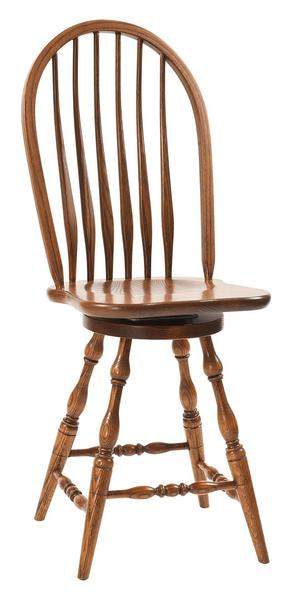 Amish Bent Feather Windsor Bar Stool with Swivel