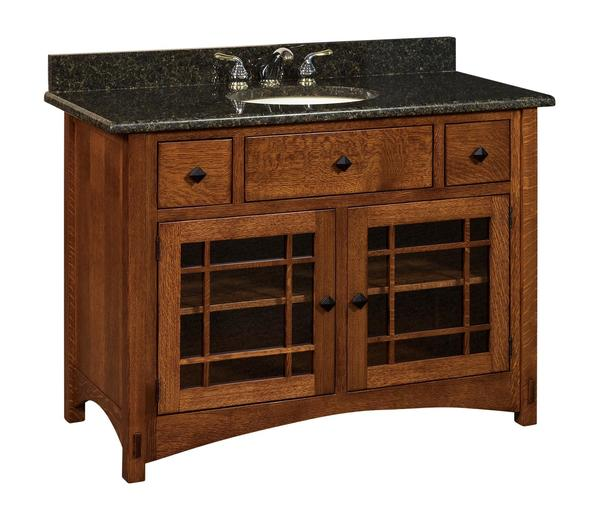 "Amish 49"" Lucern Mission Single Bathroom American Vanity Cabinet"