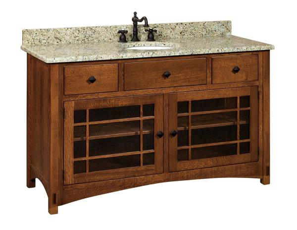 "Amish 60"" Lucern Mission Single Bathroom Vanity Cabinet"