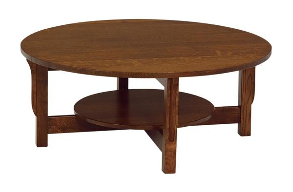 Amish Lancaster Mission Round Coffee Table with Shelf
