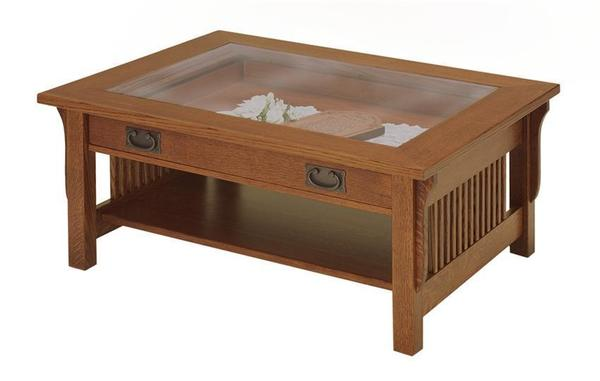 Amish Lancaster Mission Gl Top Display Coffee Table