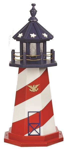 amish patriotic wooden garden lighthouse - Garden Lighthouse