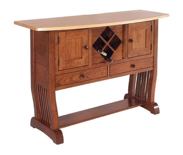 Amish Royal Mission Sideboard with Wine Rack