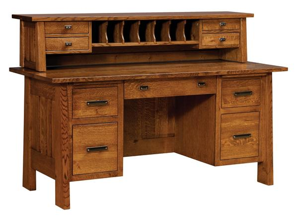 Amish Freemont Mission File Desk with Optional Topper