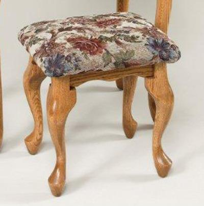 Amish Upholstered Queen Anne Vanity Stool