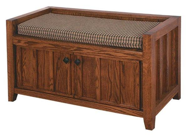 Phenomenal Amish Two Door Mission Storage Bench Ncnpc Chair Design For Home Ncnpcorg