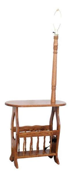Amish Country Heart Magazine Rack End Table with Lamp