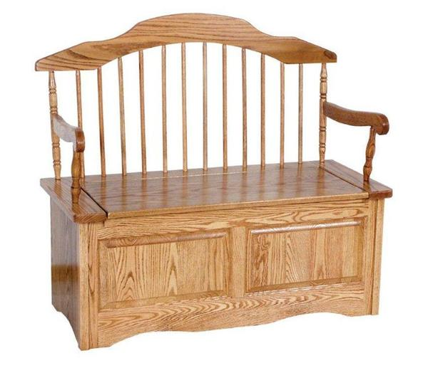 Amish High Back Storage Bench