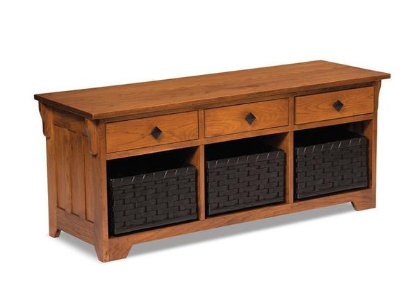 Amish Lattice Weave Storage Bench with Drawers and Baskets