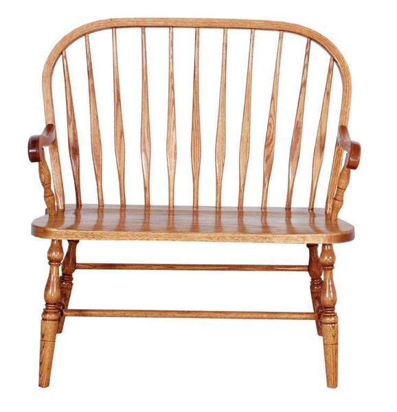 Amish Traditional Bent Feather Windsor Bench