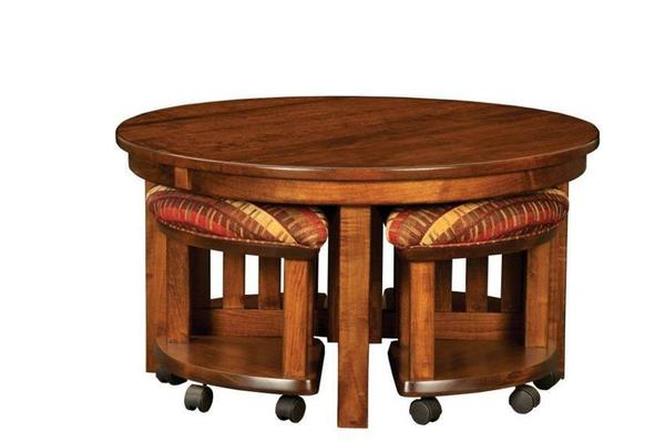 Amish Mission Round Nesting Table and Stool Set with Lift