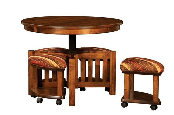 Mission Nesting Table and Bench Set from DutchCrafters Amish Furniture