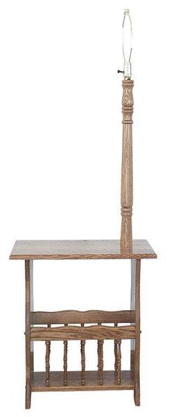 Amish Square Magazine Rack End Table with Lamp