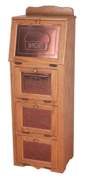 Amish Wood Vegetable Bin with Copper Front
