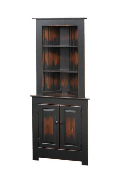 Farmhouse Corner Hutch in Pine Wood